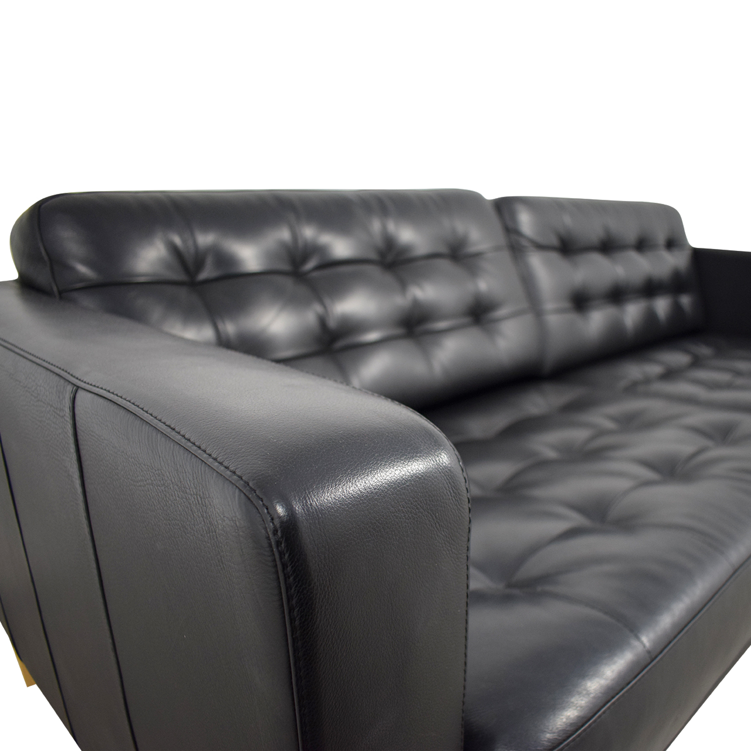 ... IKEA IKEA Landskrona Black Tufted Leather Sofa Black