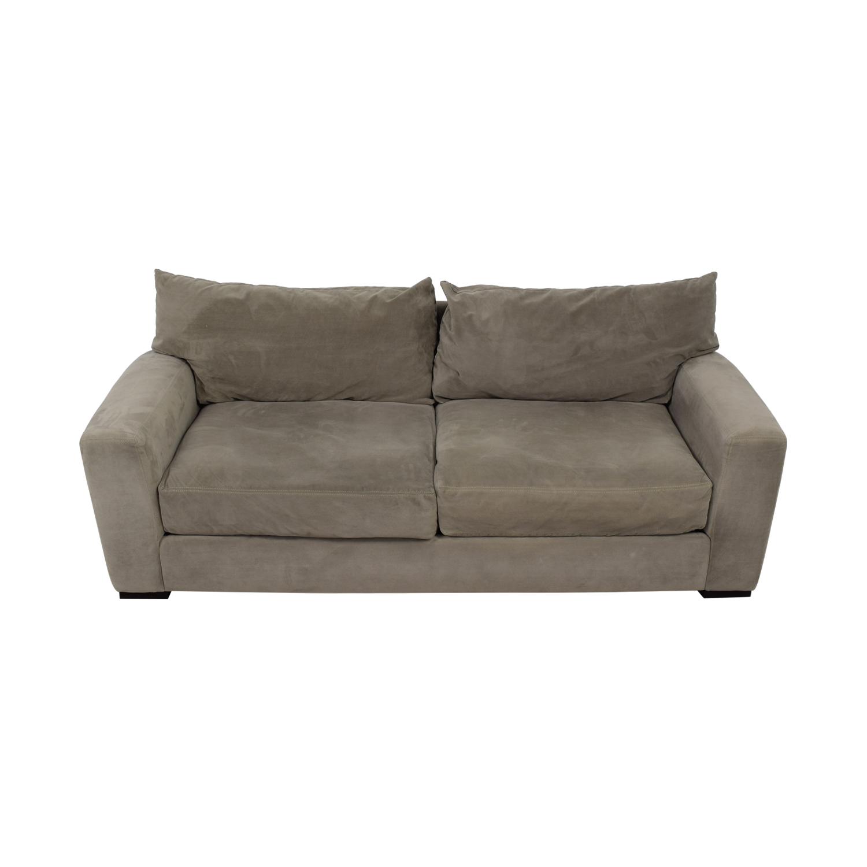 shop Raymour & Flanigan Carlin Grey Microfiber Two-Cushion Sofa Raymour & Flanigan