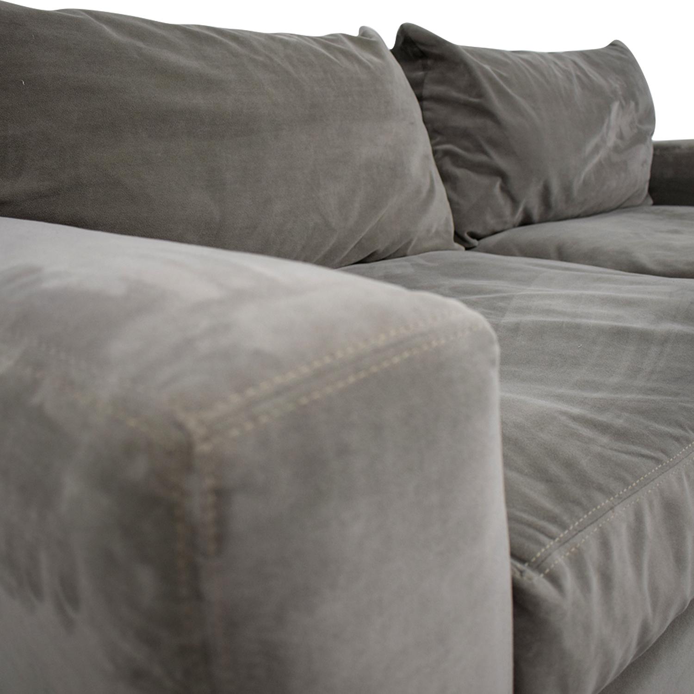Raymour & Flanigan Raymour & Flanigan Carlin Grey Microfiber Two-Cushion Sofa for sale