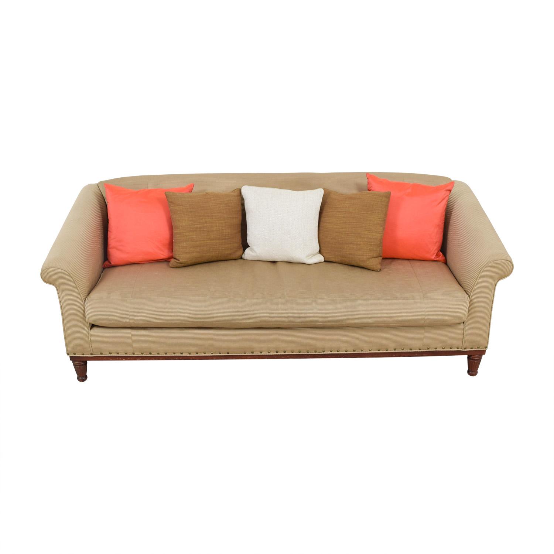 Ralph Lauren Ralph Lauren Tan Chinoisserie Nailhead Sofa for sale