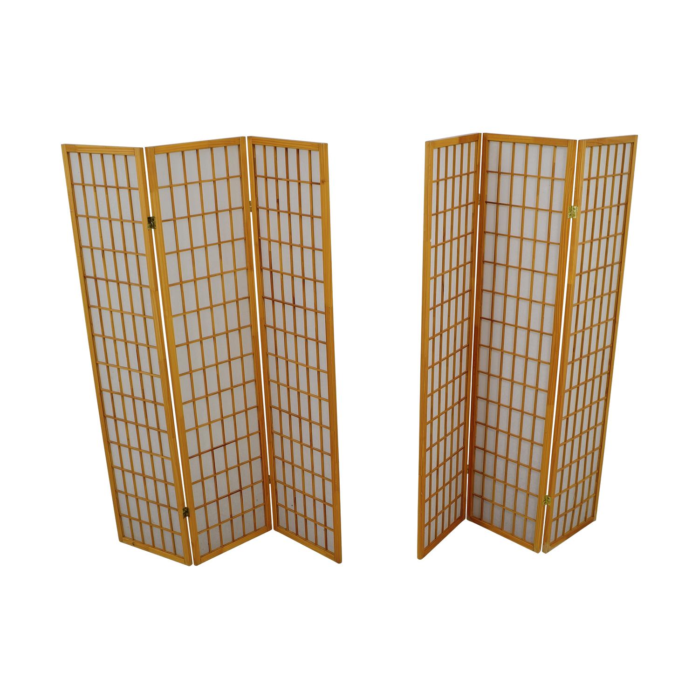 Finley Home Finley Home Jakun Honey Shoji Four Panel Room Divider nj
