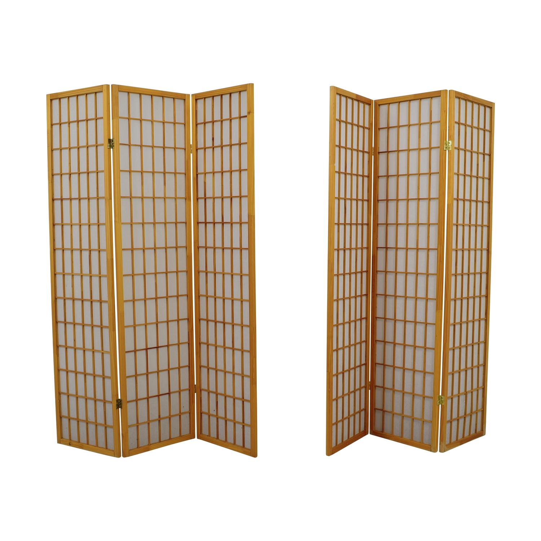 shop Finley Home Jakun Honey Shoji Four Panel Room Divider Finley Home