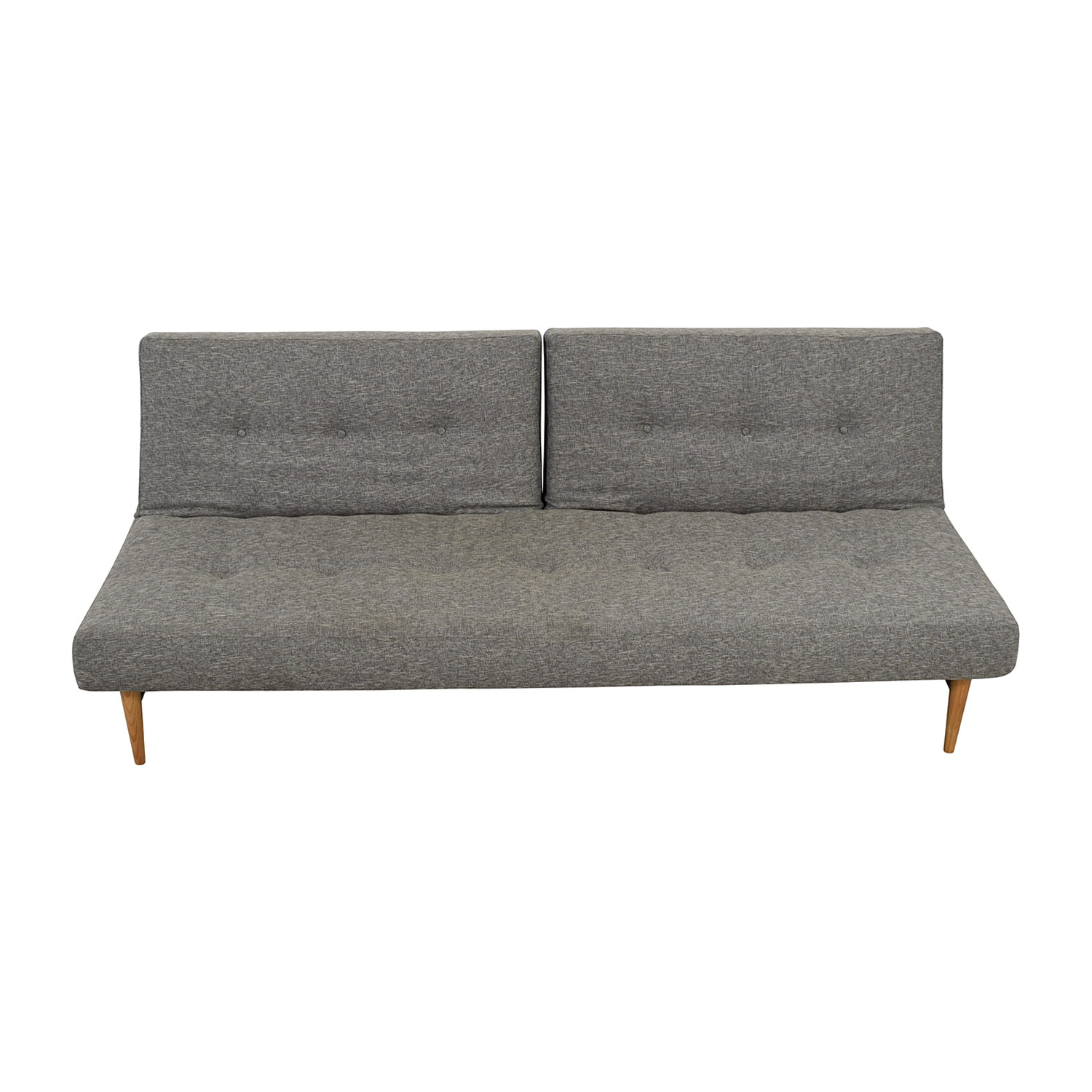 West Elm Mid Century Grey Semi Tufted Futon Sofa