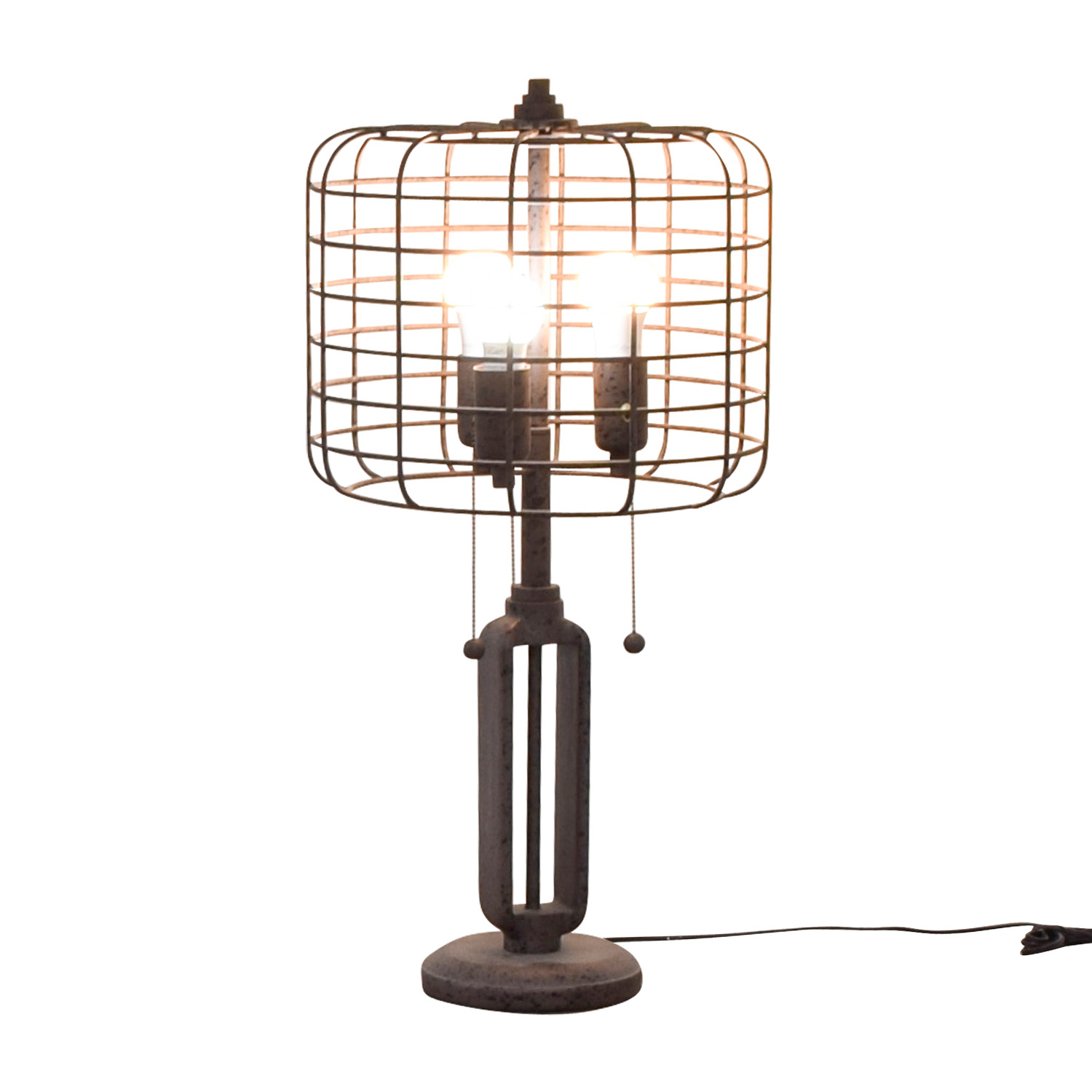 Franklin Iron Works Franklin Iron Works Industrial Cage Edison Bulb Rust Metal Table Lamp for sale