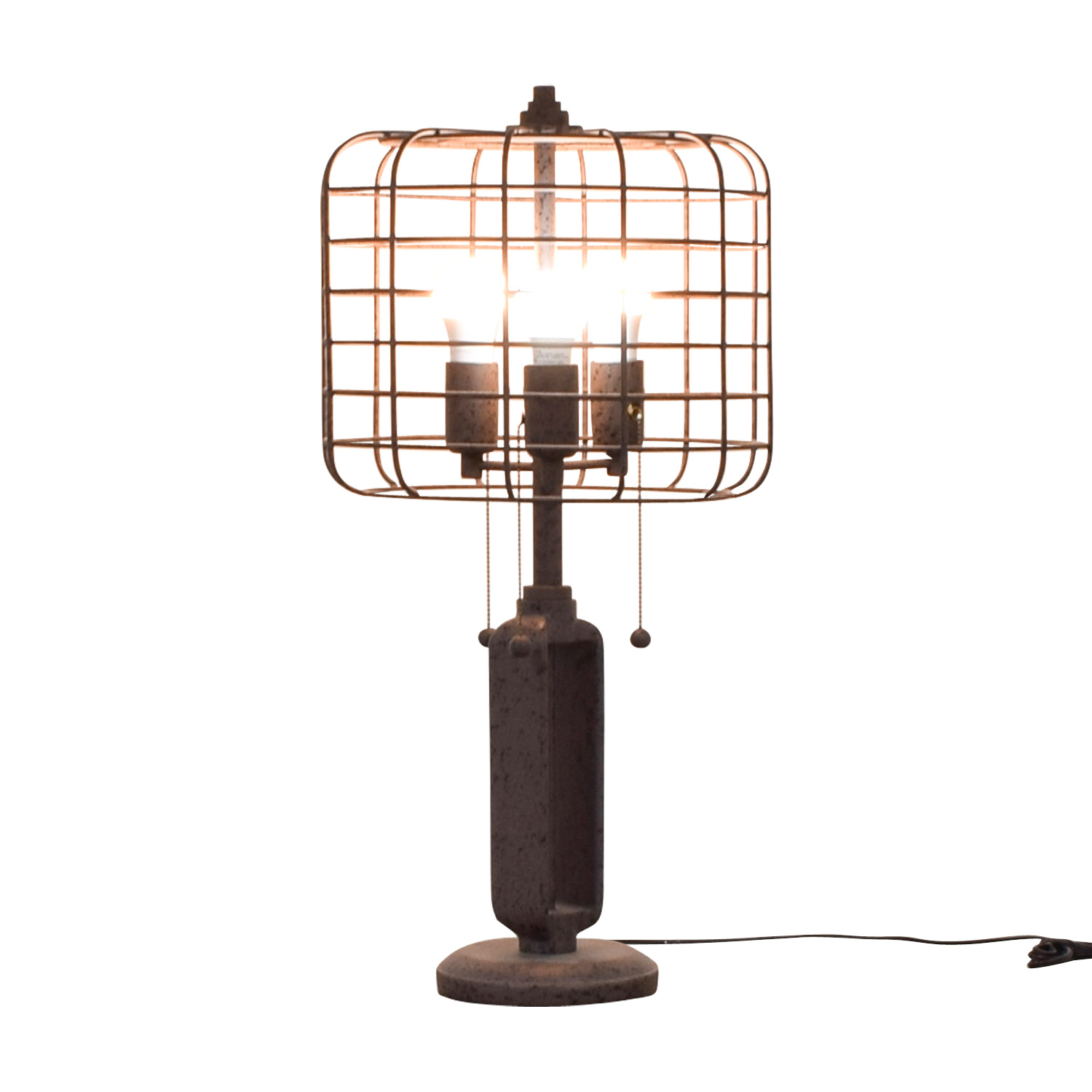 Franklin Iron Works Franklin Iron Works Industrial Cage Edison Bulb Rust Metal Table Lamp dimensions