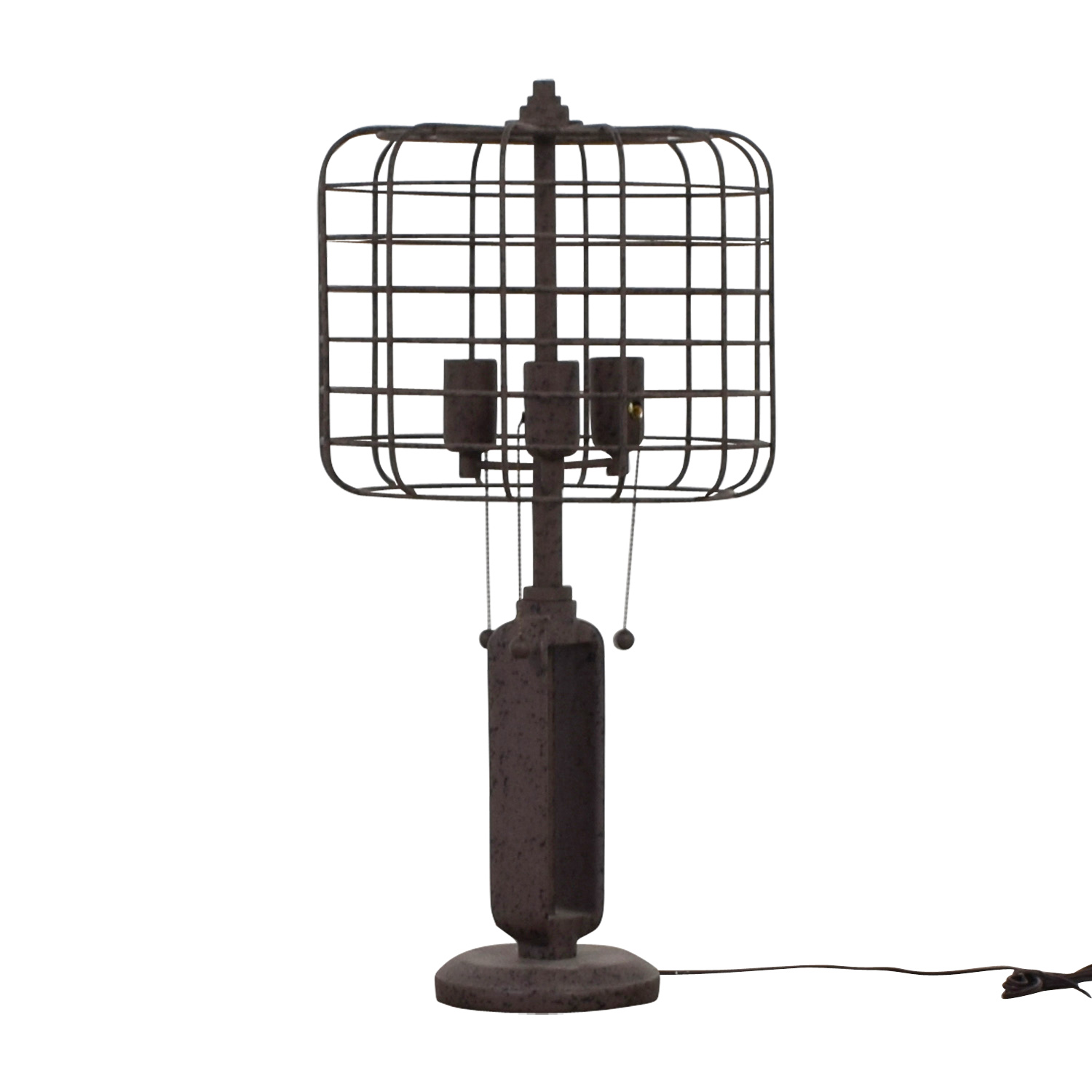 buy Franklin Iron Works Industrial Cage Edison Bulb Rust Metal Table Lamp Franklin Iron Works