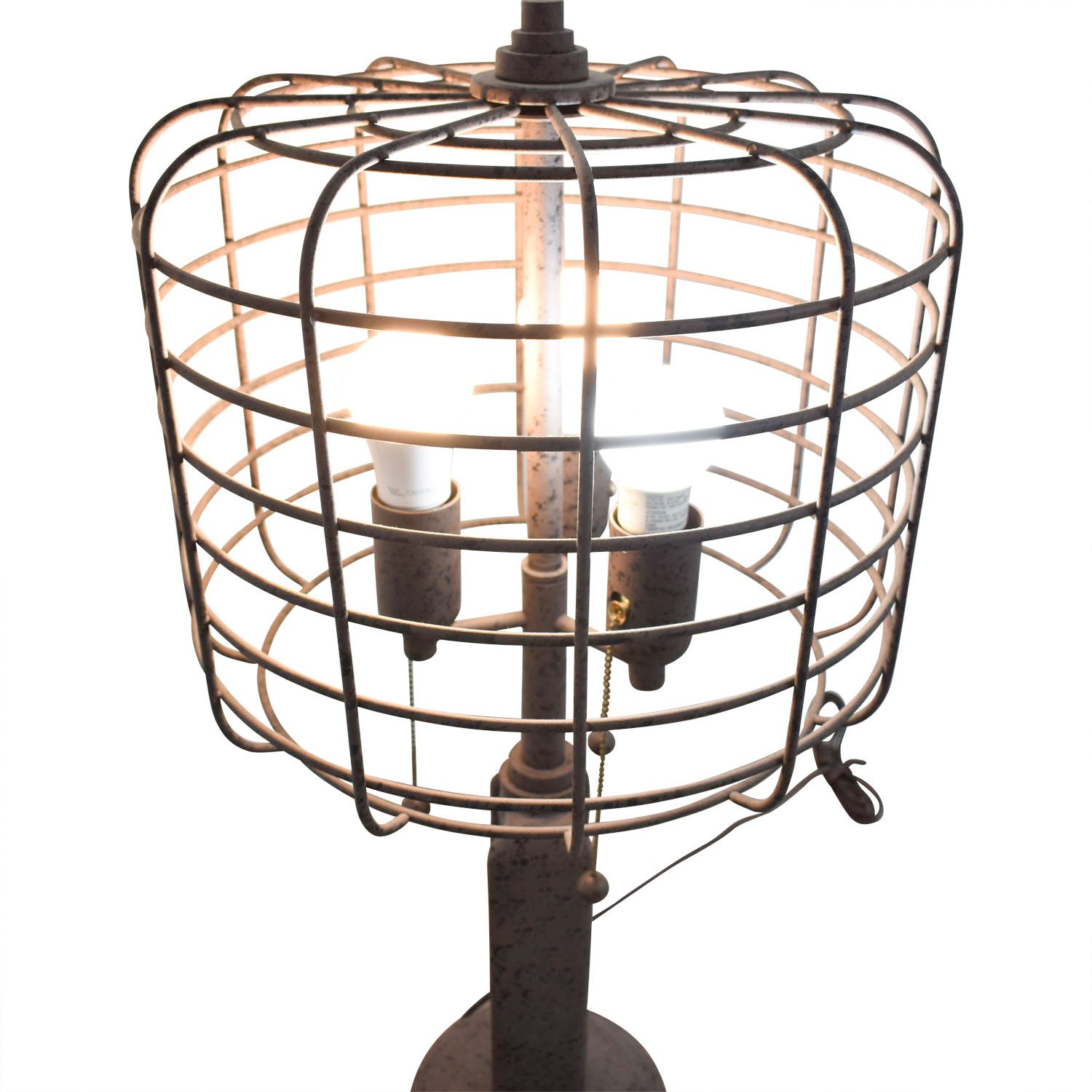 Franklin Iron Works Franklin Iron Works Industrial Cage Edison Bulb Rust Metal Table Lamp Lamps
