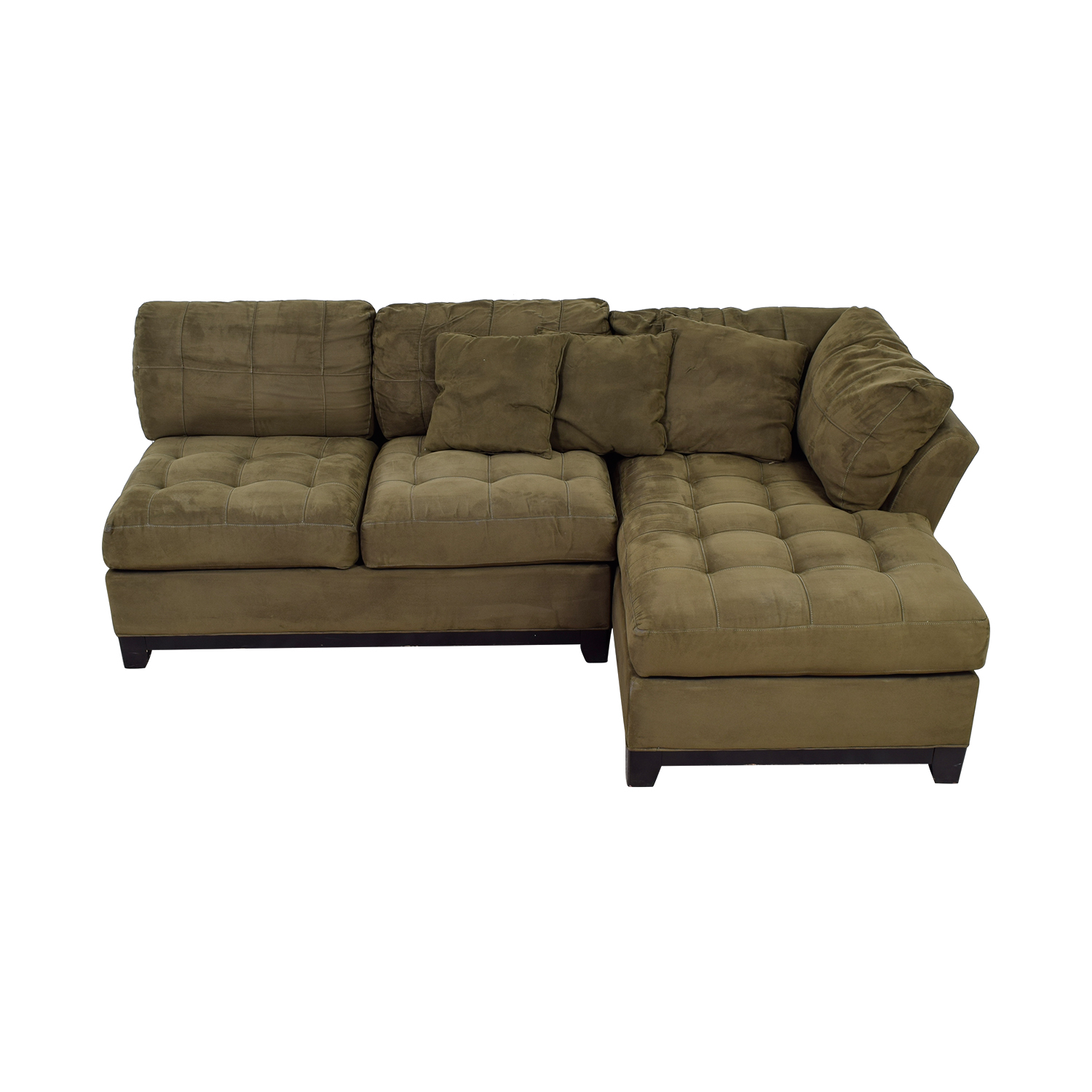 Raymour & Flanigan Raymour & Flanigan Brown Tufted Chaise Sectional on sale