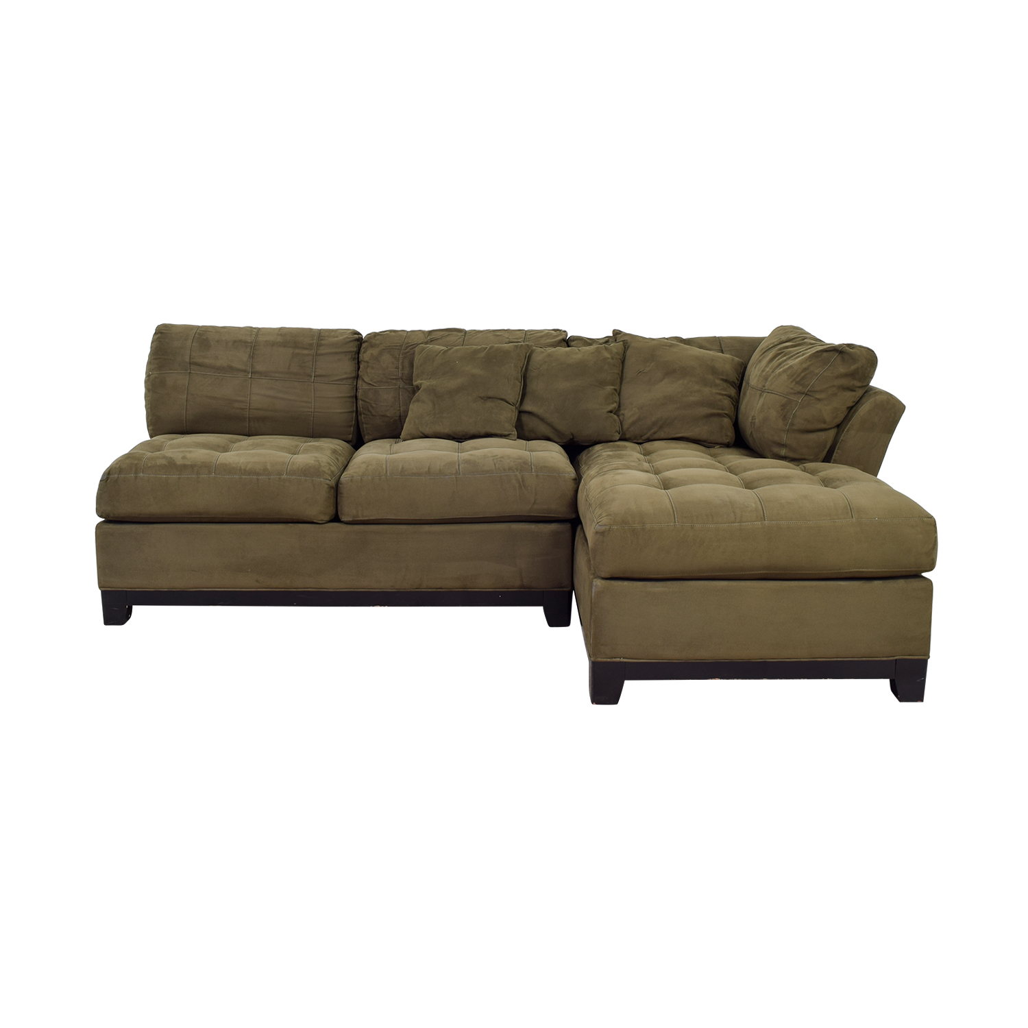 Raymour & Flanigan Raymour & Flanigan Brown Tufted Chaise Sectional price