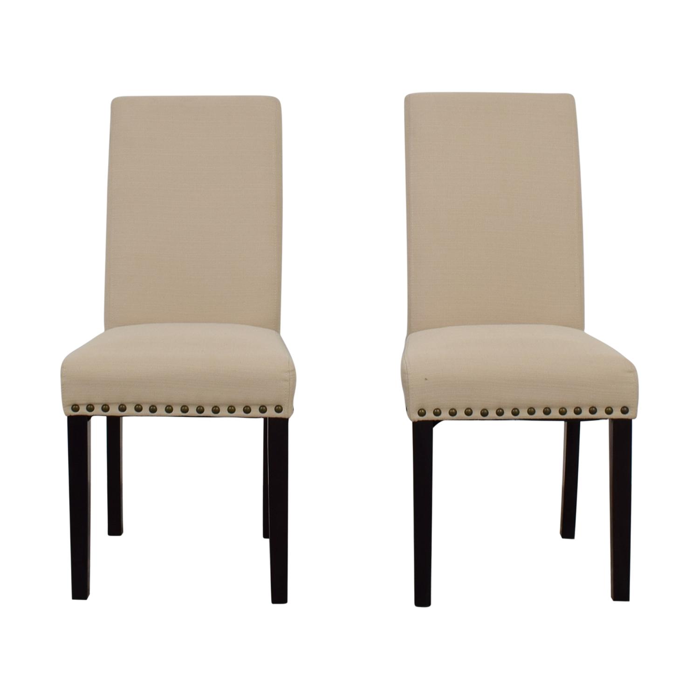shop Dwell Home Beige Nailhead Dining Chairs Dwell Home