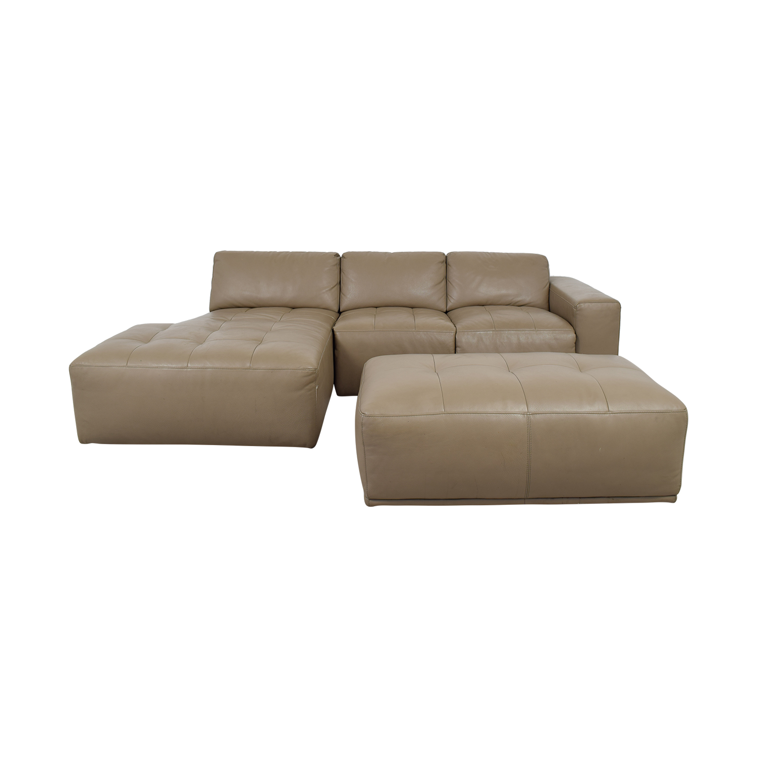 shop Planum Beige Leather Chaise Sectional with Ottoman Planum Sectionals