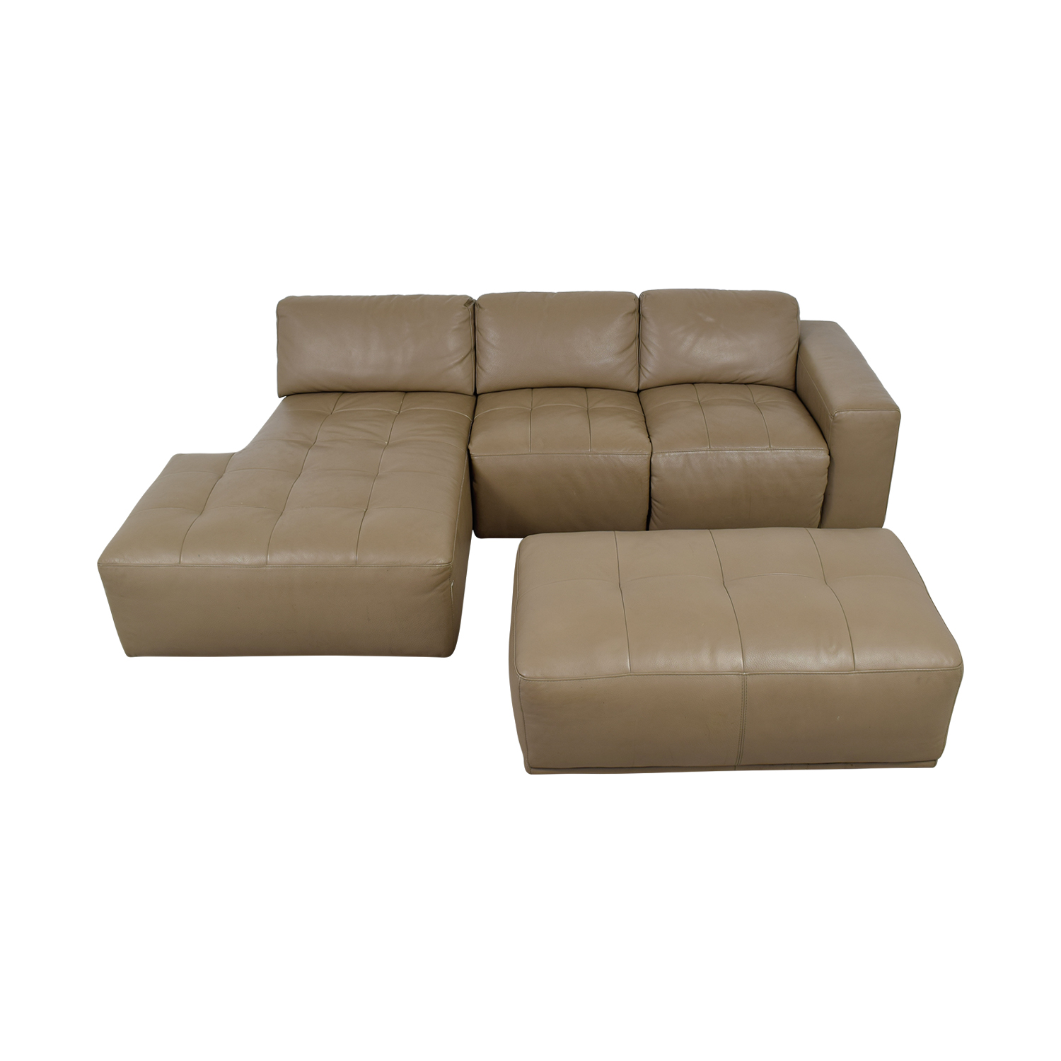 Planum Planum Beige Leather Chaise Sectional with Ottoman dimensions