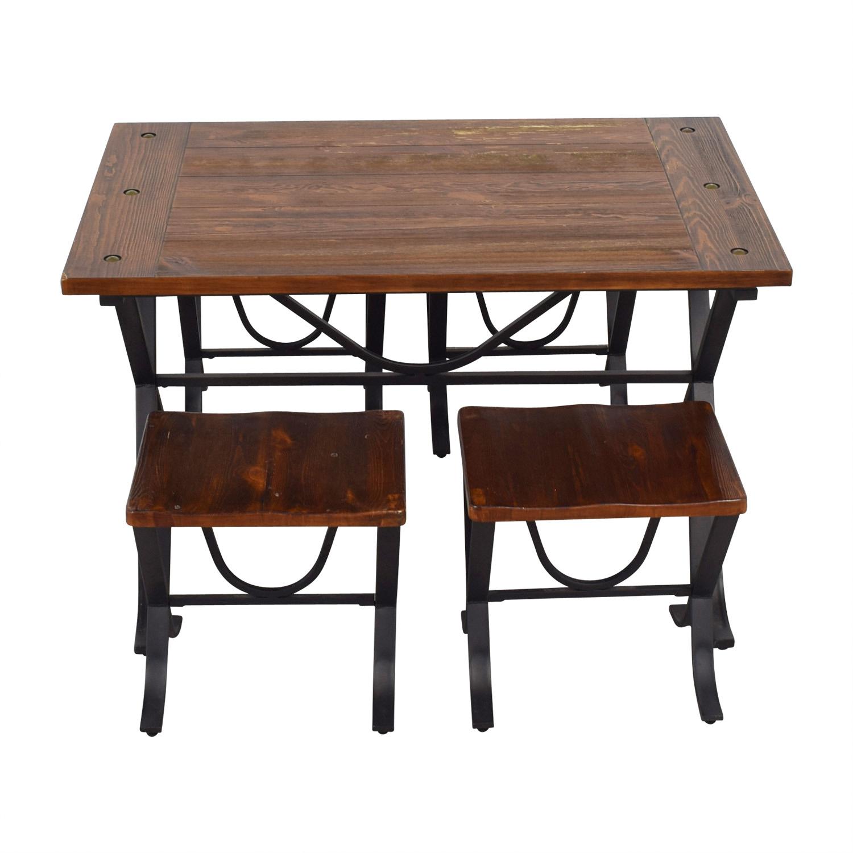 Loon Peak Jaden Rustic Wood and Metal Dining Set sale