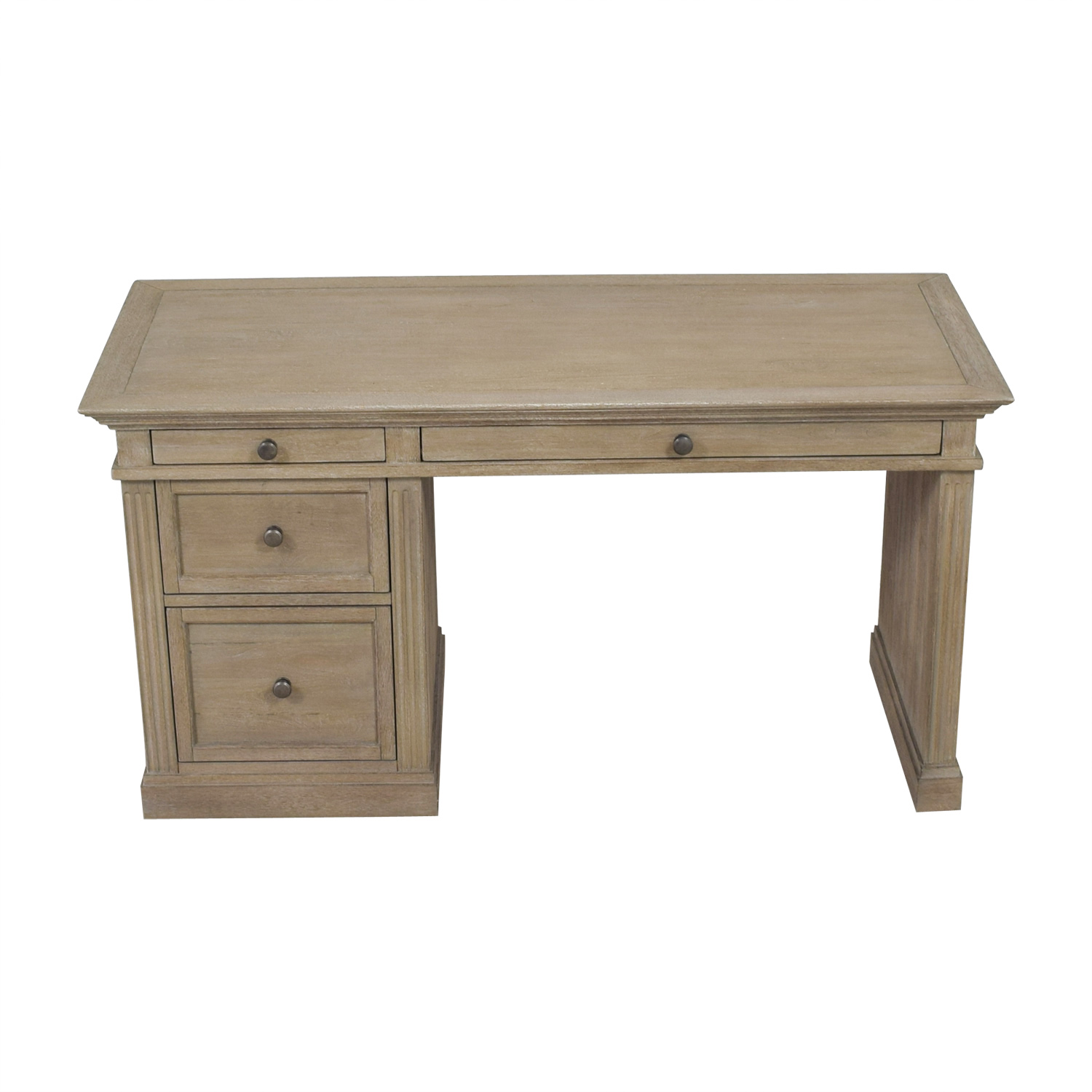 Pottery Barn Livingston Gray Wash Four-Drawer Desk Pottery Barn