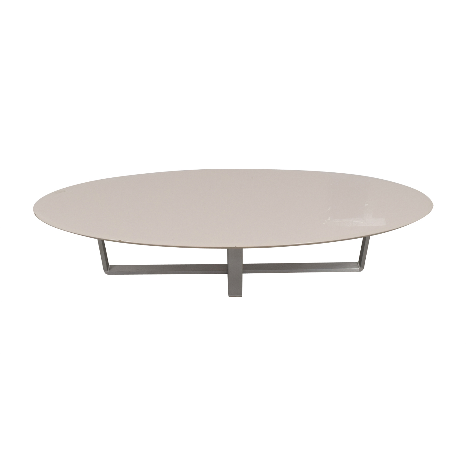 ... Argo Furniture Argo Furniture White Lacquer Oval Coffee Table ...