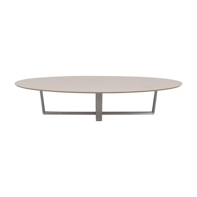 shop Argo Furniture White Lacquer Oval Coffee Table Argo Furniture