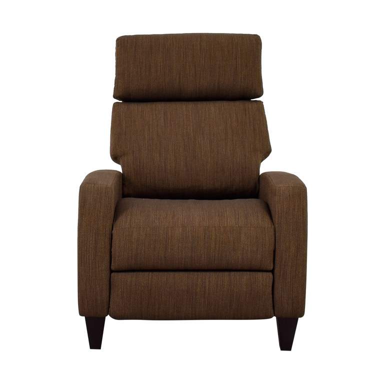 American Leather Brown Tweed Electric Recliner Chair American Leather