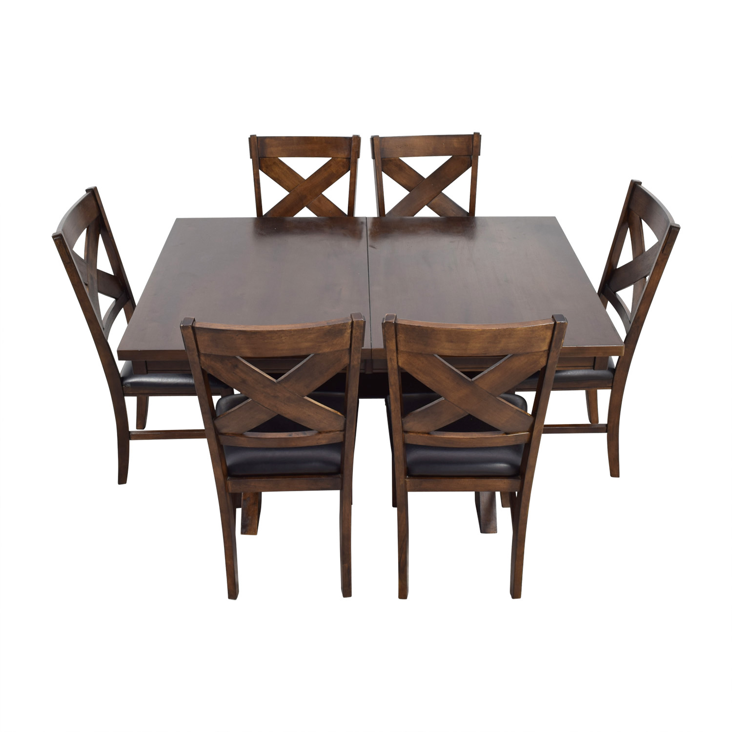 Green River Wood Green River Wood Dining Set with Black Leather Chairs discount