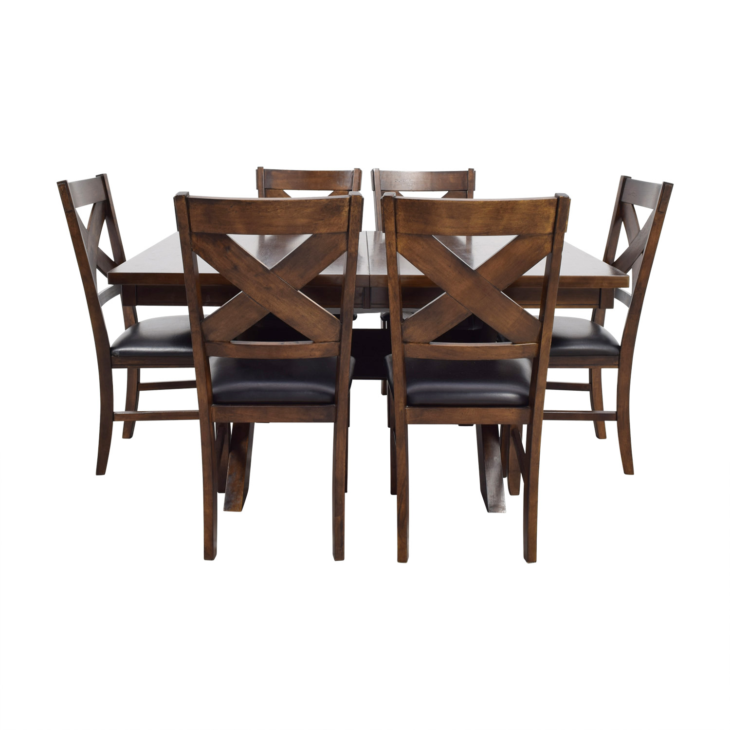 Green River Wood Green River Wood Dining Set with Black Leather Chairs