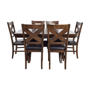 Green River Wood Dining Set with Black Leather Chairs nyc