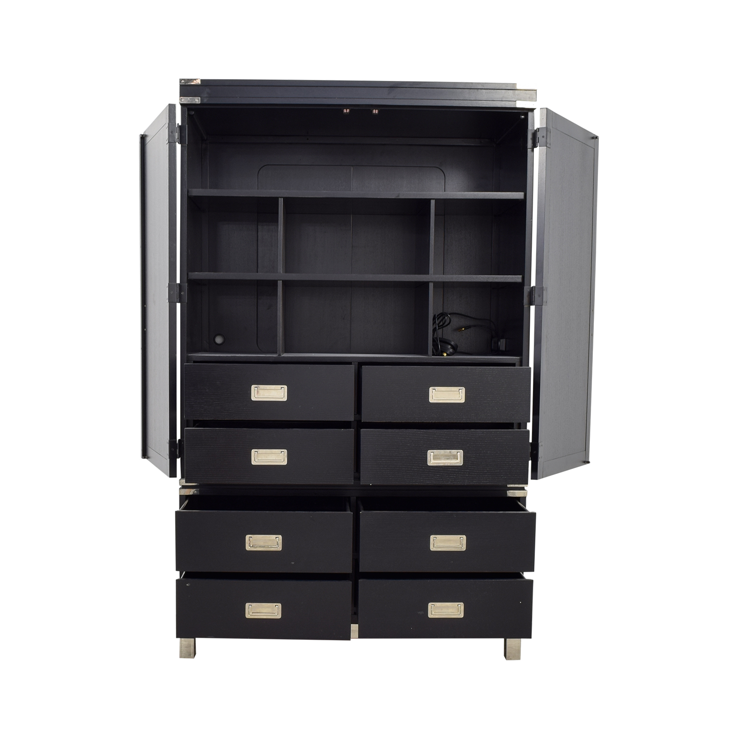 73% OFF - Black Eight-Drawer Wardrobe Armoire / Storage
