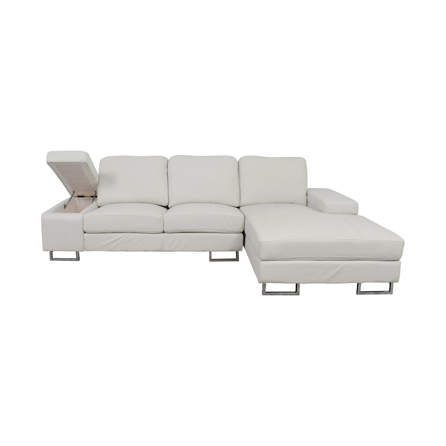 Lumens Lumens White Leather Chaise Sectional With Arm Storage nyc