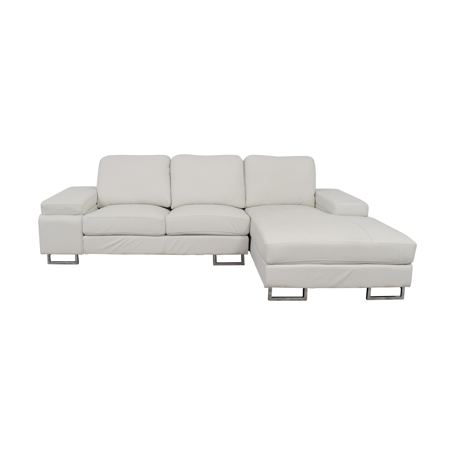 Lumens White Leather Chaise Sectional With Arm Storage Lumens