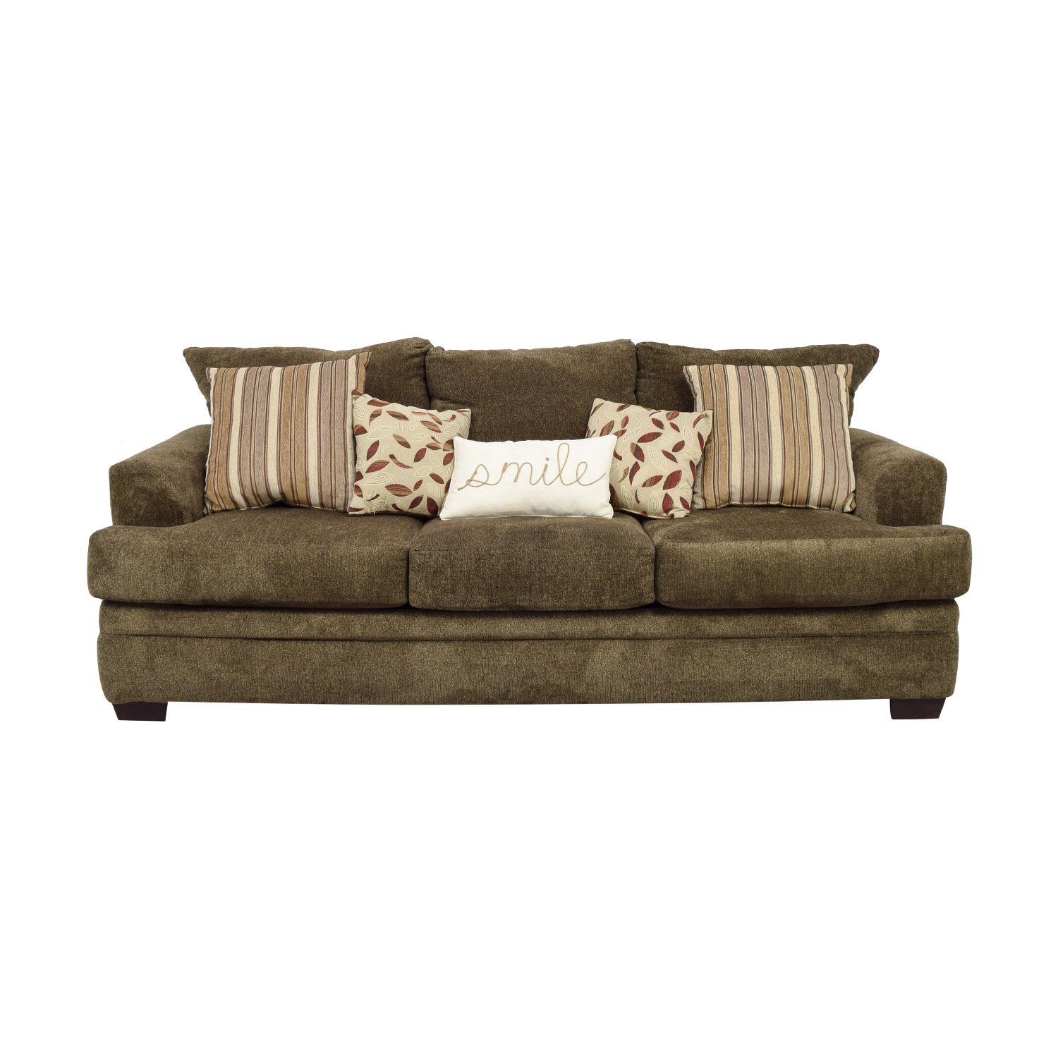 shop Bob's Furniture Miranda Brown Three-Cushion Sofa Bob's Furniture Sofas