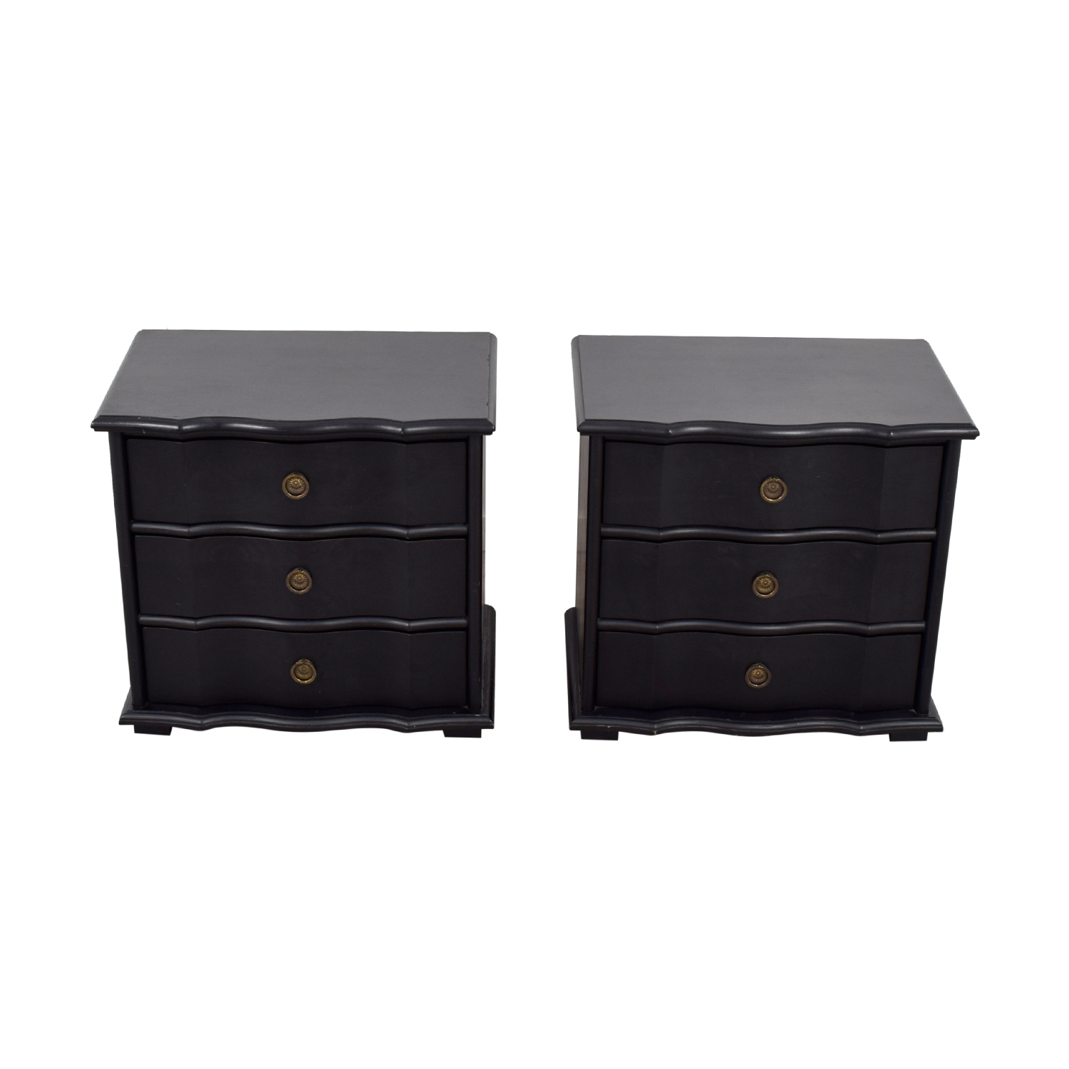 Restoration Hardware Restoration Hardware Italian Baroque Black Wood Three-Drawer Nightstands price