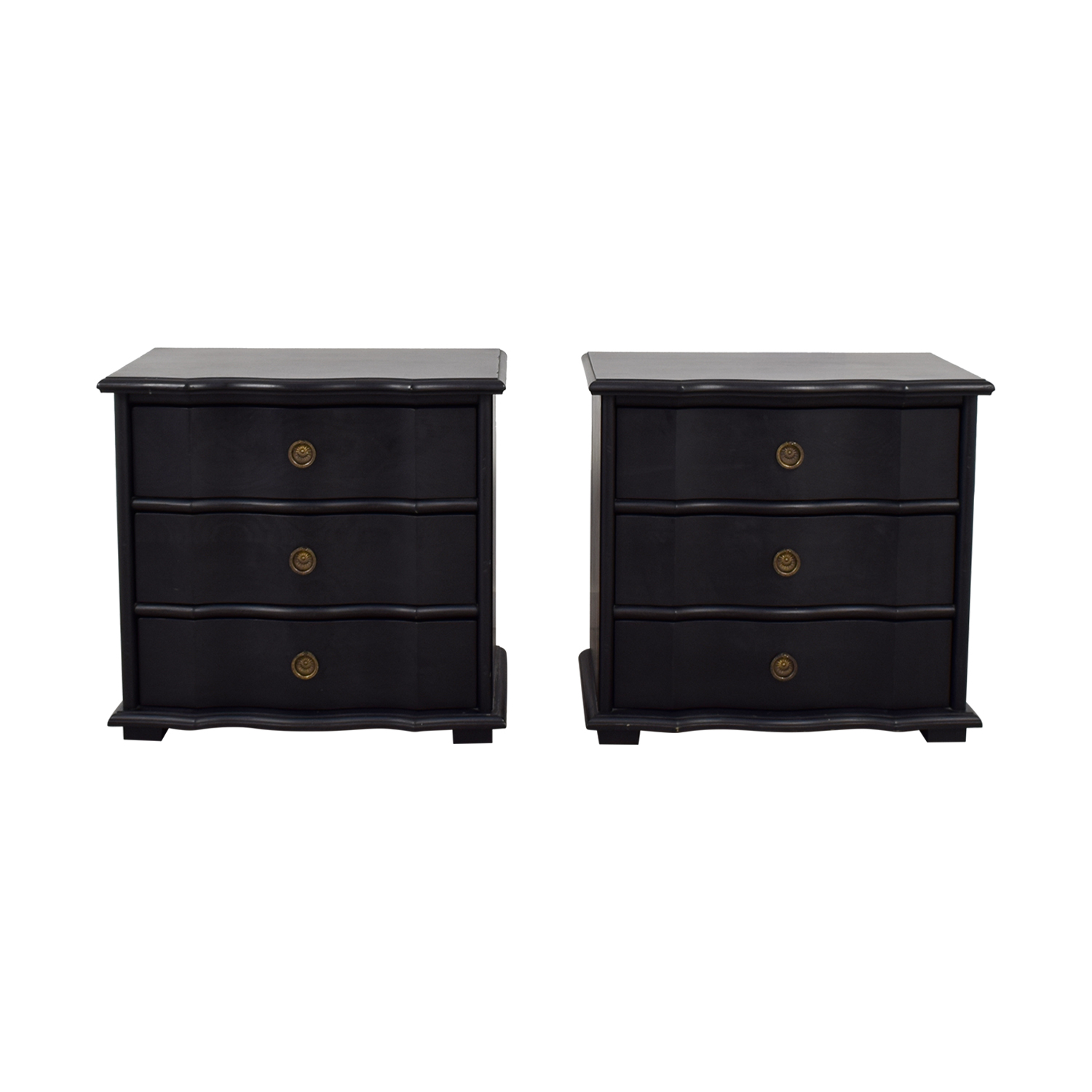 buy Restoration Hardware Italian Baroque Black Wood Three-Drawer Nightstands Restoration Hardware End Tables