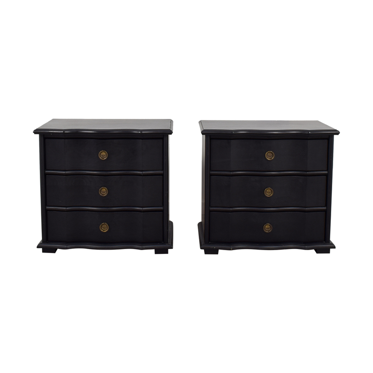 Restoration Hardware Restoration Hardware Italian Baroque Black Wood Three-Drawer Nightstands discount