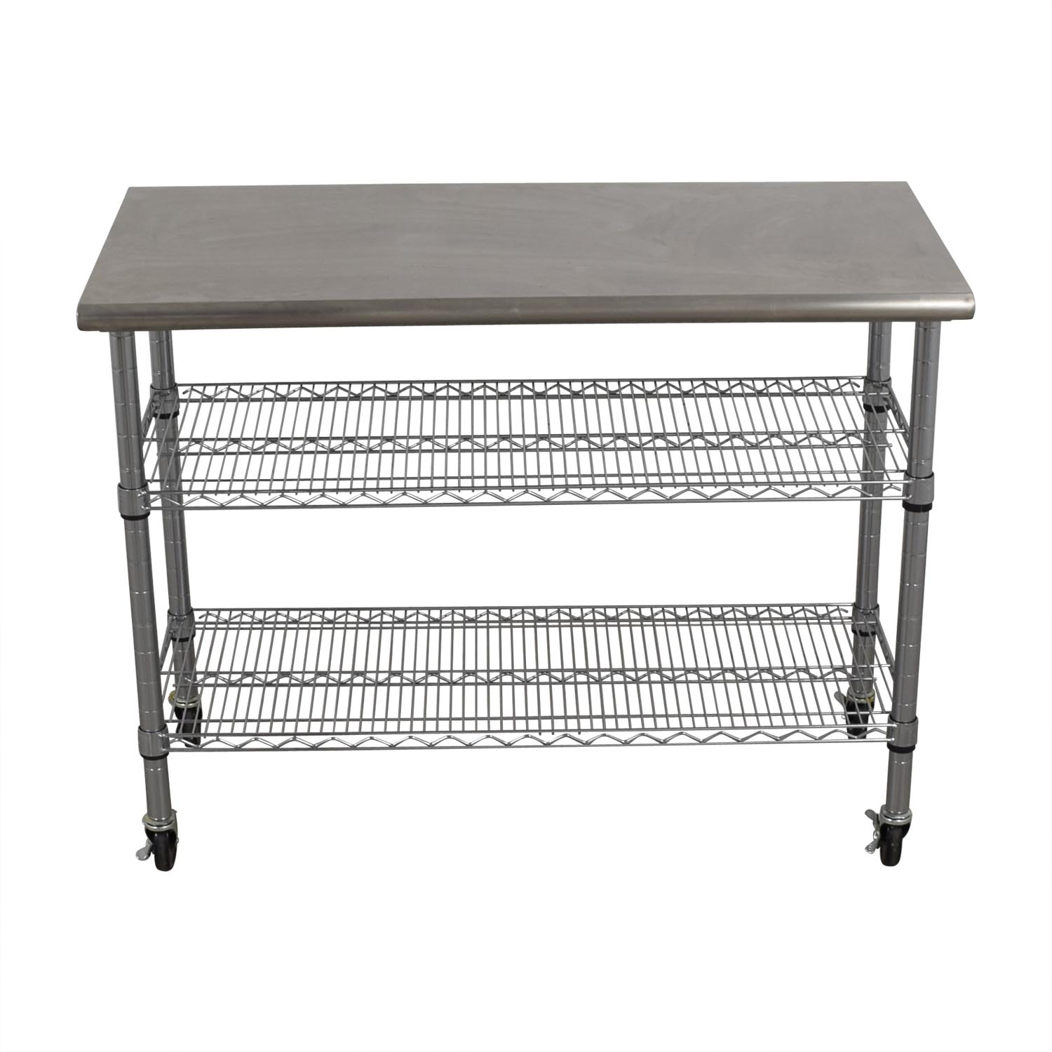 buy Home Depot Home Depot Stainless Steel Utility Cart on Wheels online