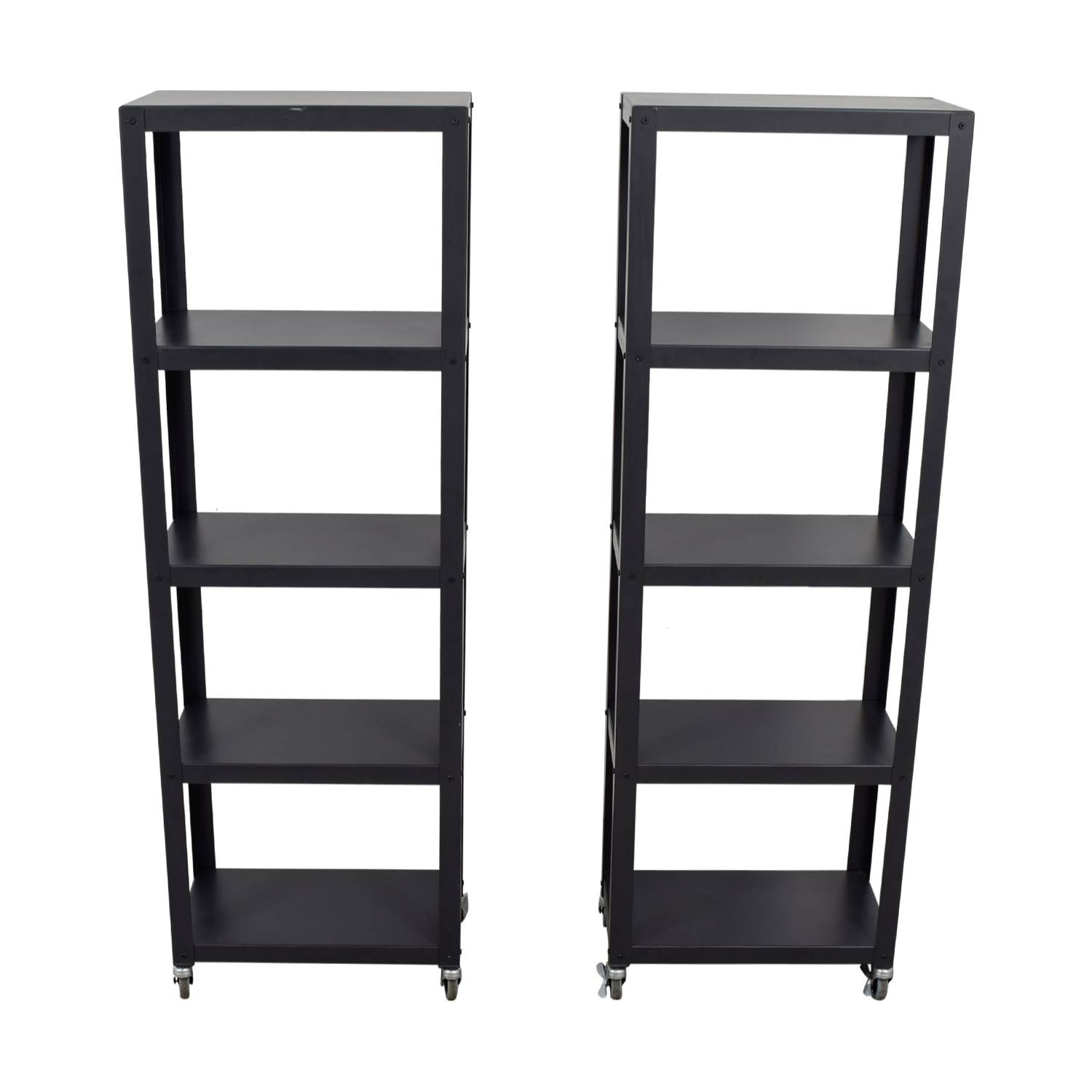 buy CB2  Black Go-Cart Five Shelf Bookcases on Castors CB2 Storage