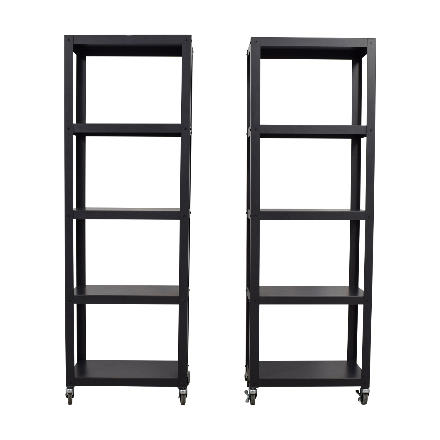 CB2 CB2  Black Go-Cart Five Shelf Bookcases on Castors nyc