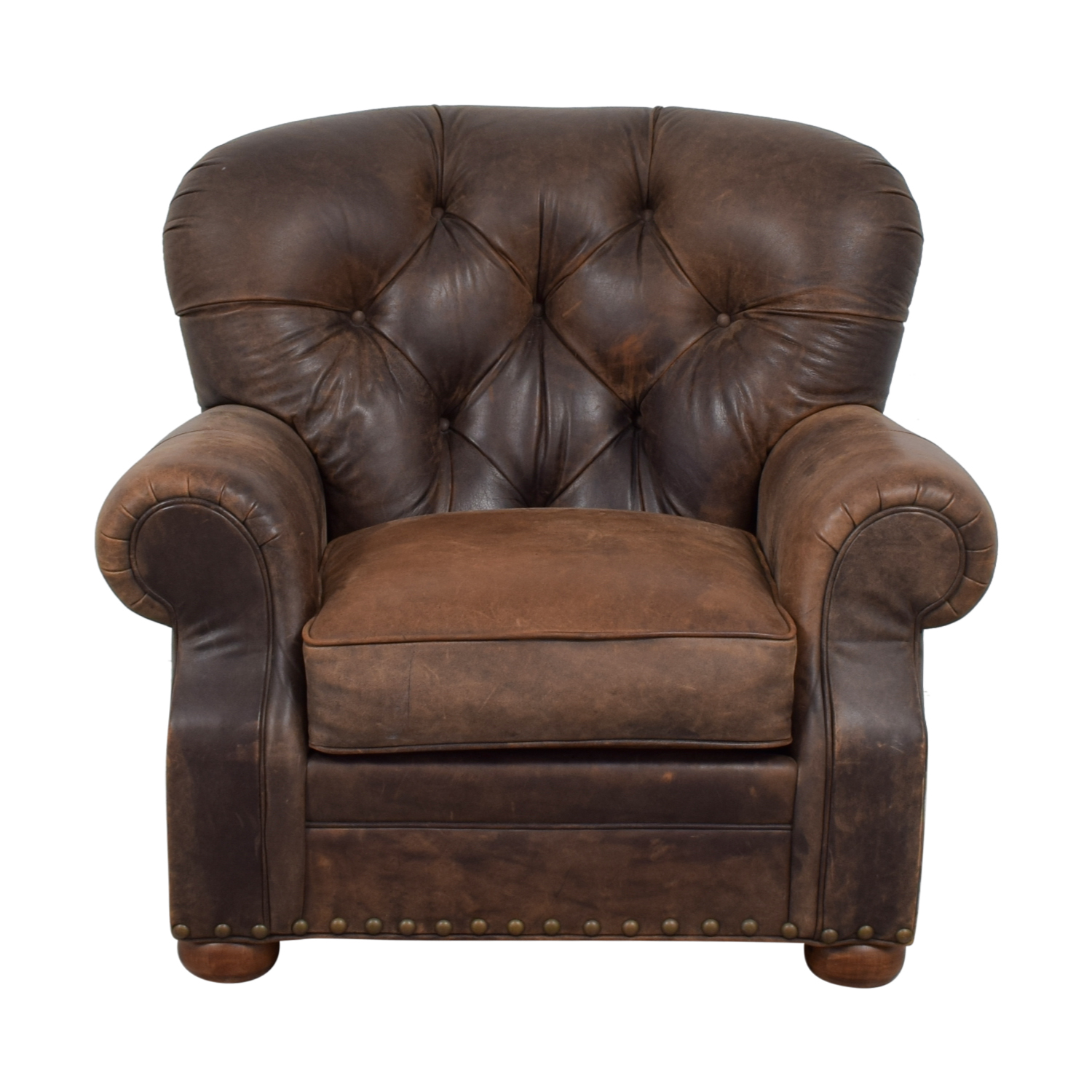 Restoration Hardware Churchill  Brown Leather Tufted Nailhead Chair / Chairs