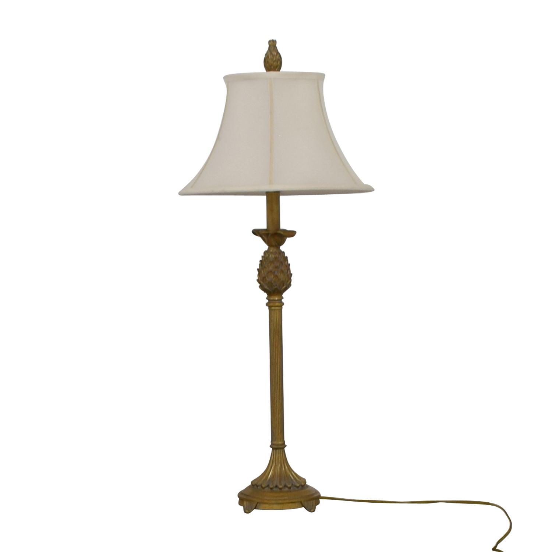 Vintage Brass Pineapple Lamp Gold ,White