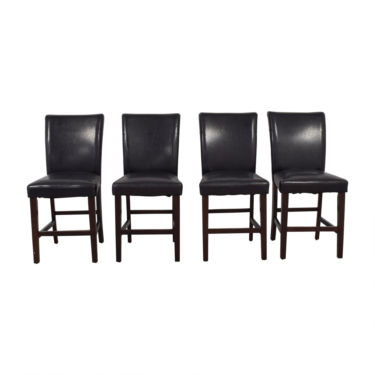Raymour & Flanigan Raymour & Flanigan Brown Leather Dining Chairs second hand