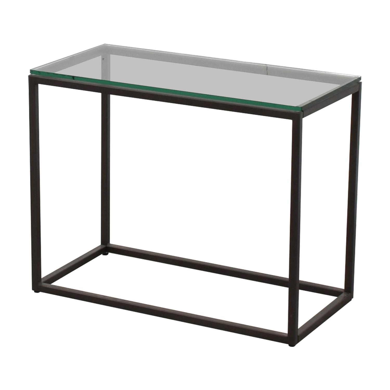 OFF West Elm West Elm Glass Box Frame Side Table Tables - West elm glass side table