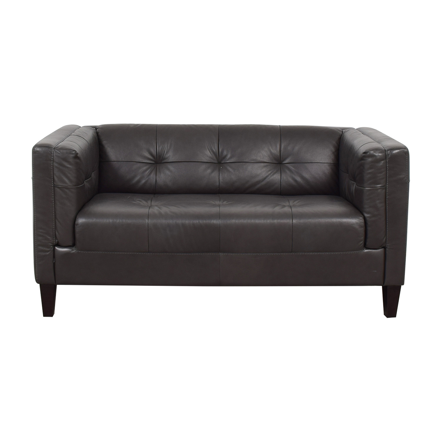 Raymour & Flanigan Raymour & Flanigan Bartolo Grey Tufted Leather Loveseat for sale