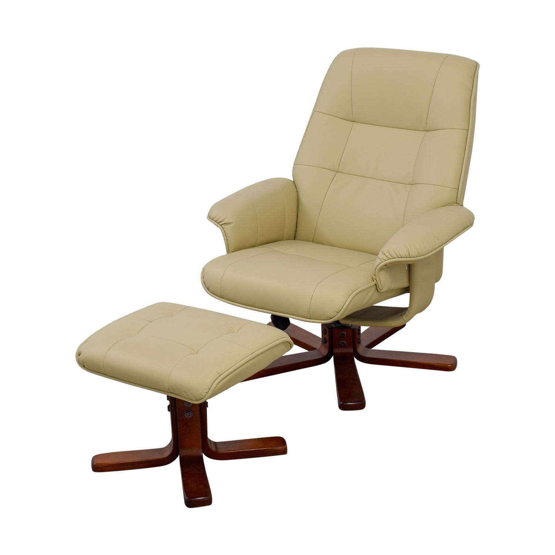 ... Shop Raymour U0026 Flanigan Cream Leather Accent Chair And Footstool  Raymour U0026 Flanigan Accent ...