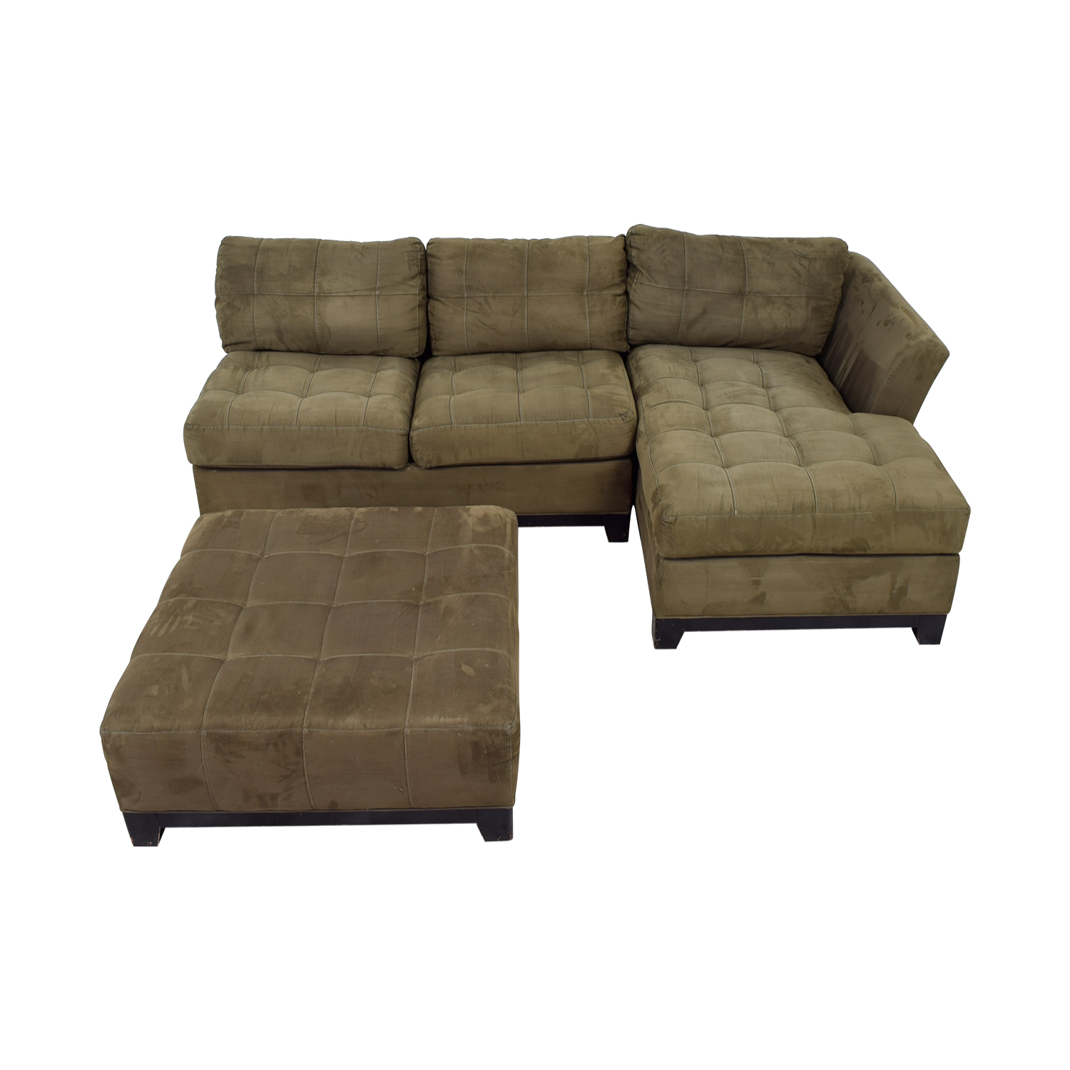 Cindy Crawford Metropolis Green Chaise Sectional with Ottoman / Sofas