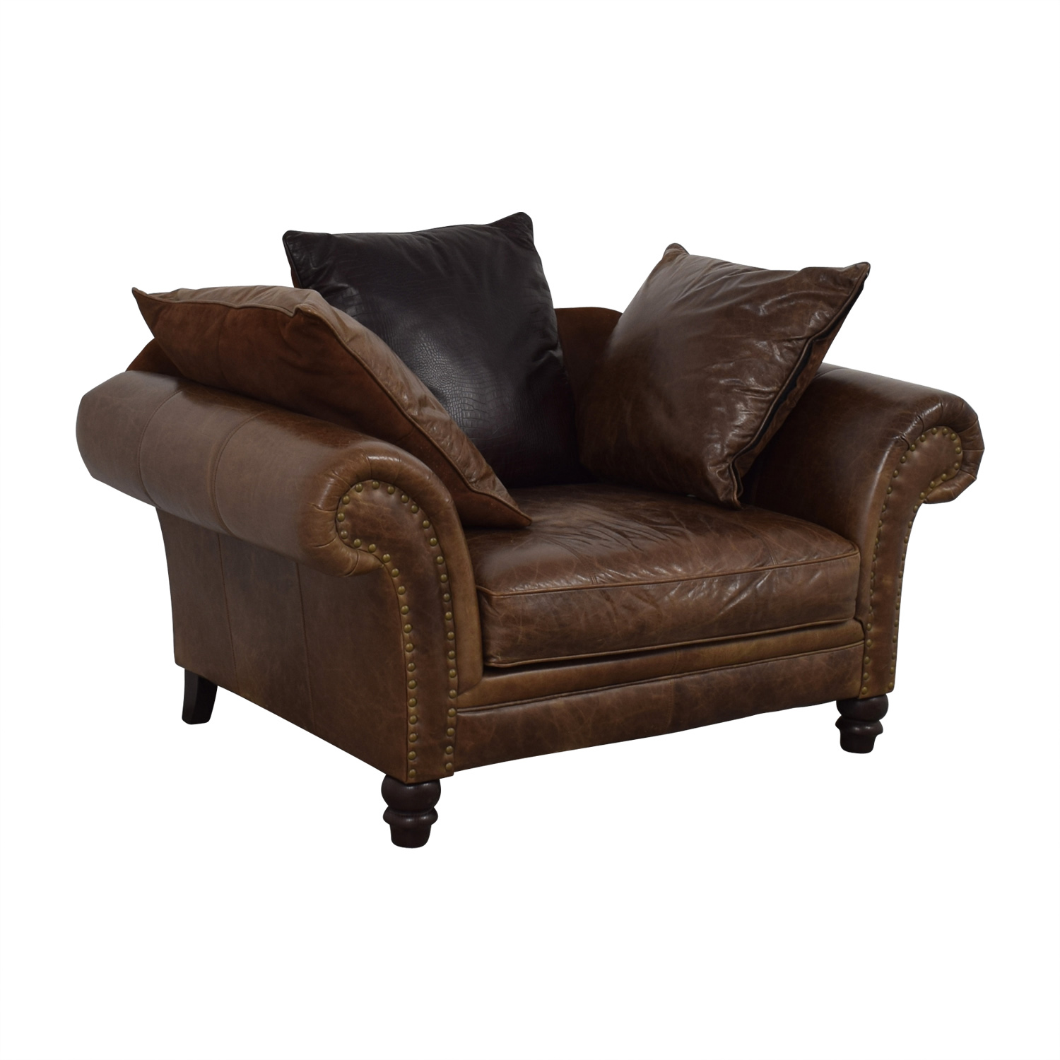 77% OFF - Bernhardt Bernhardt Brown Leather Nailhead ...