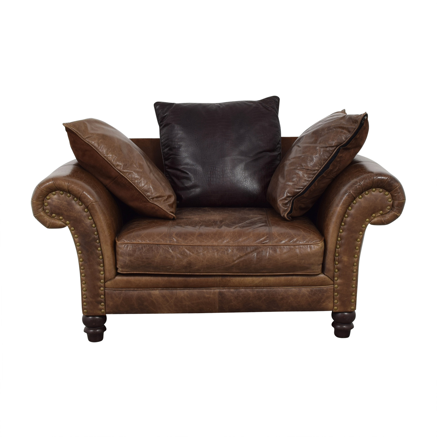 shop Bernhardt Brown Leather Nailhead Armchair Bernhardt Chairs