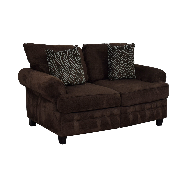 shop Bob's Furniture Brown Two-Cushion Love Seat Bob's Furniture Sofas