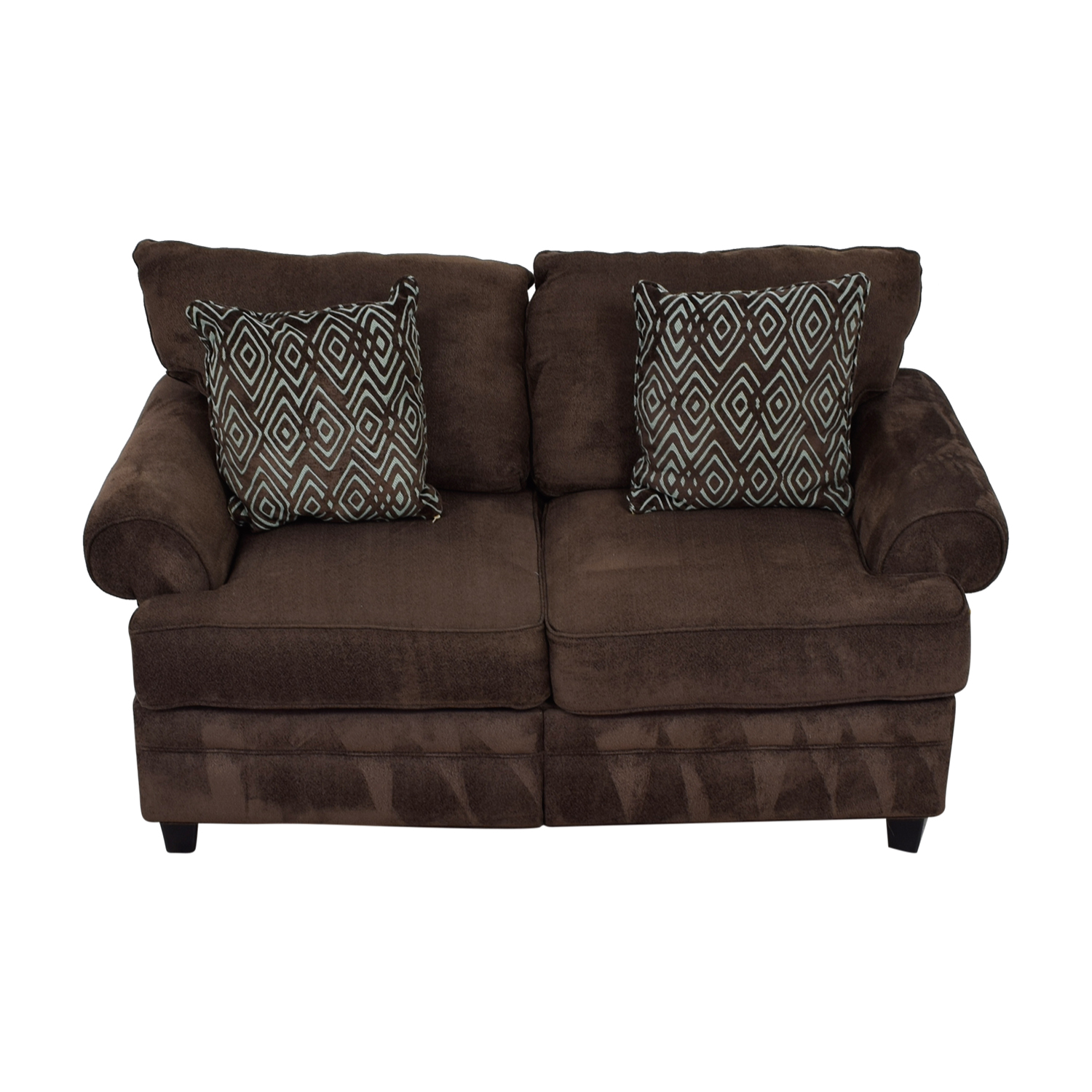 Bob's Furniture Bob's Furniture Brown Two-Cushion Love Seat dimensions