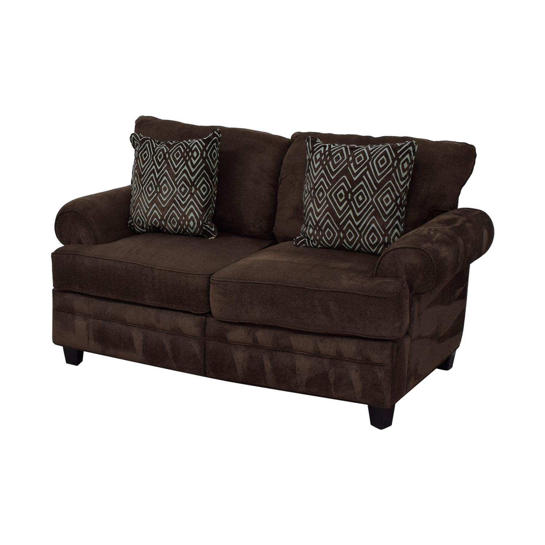 buy Bob's Furniture Brown Two-Cushion Love Seat Bob's Furniture