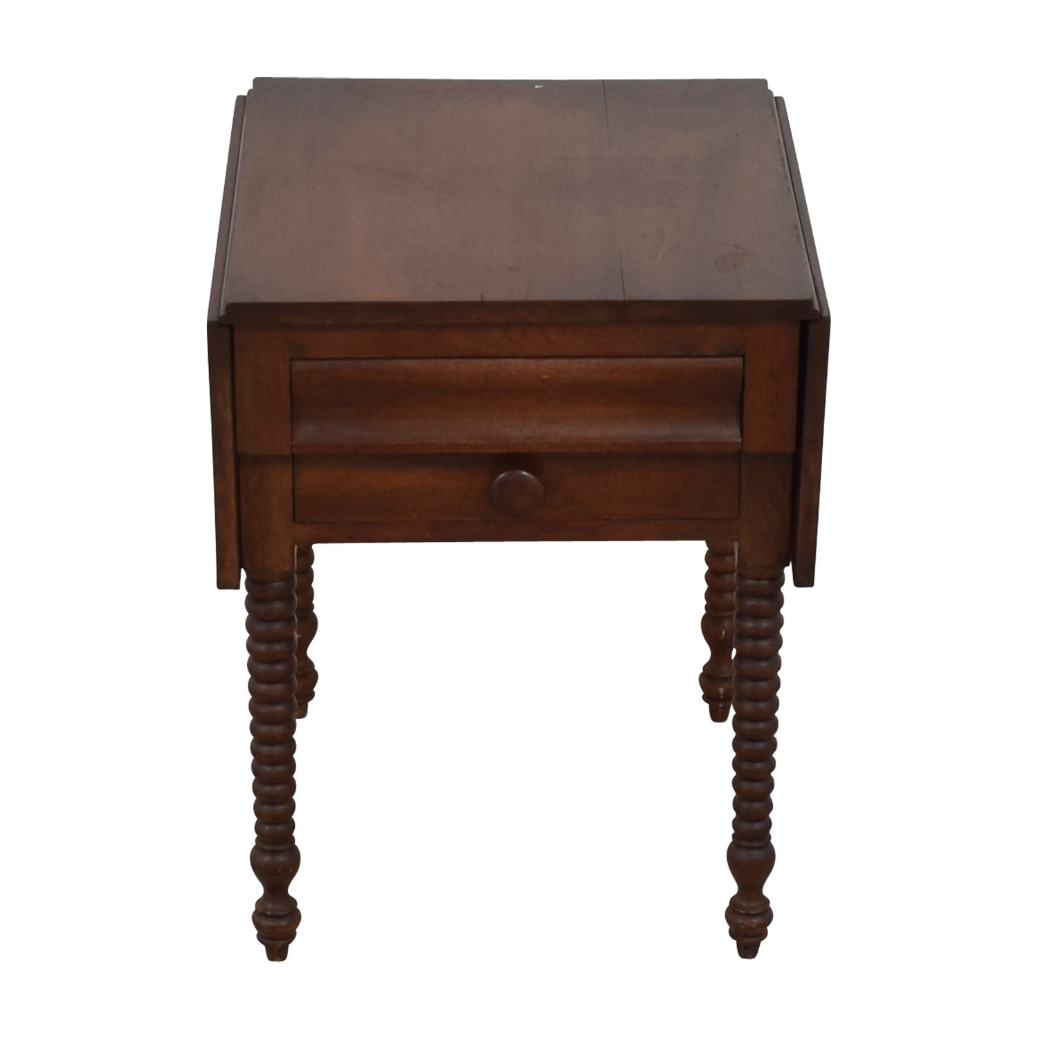 Wood Drop-Leaf Single Drawer Side Table / End Tables