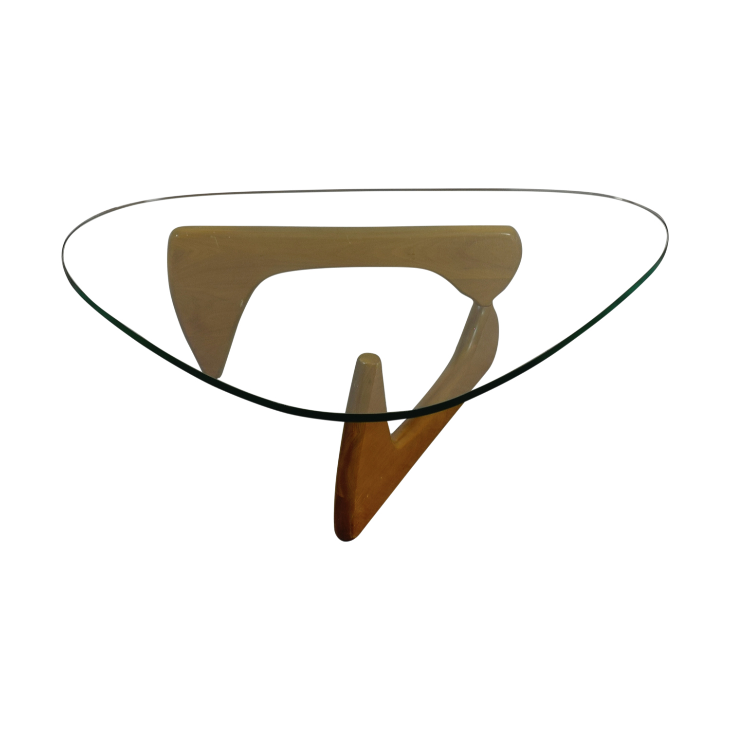 Noguchi Inspired Glass and Wood Table dimensions
