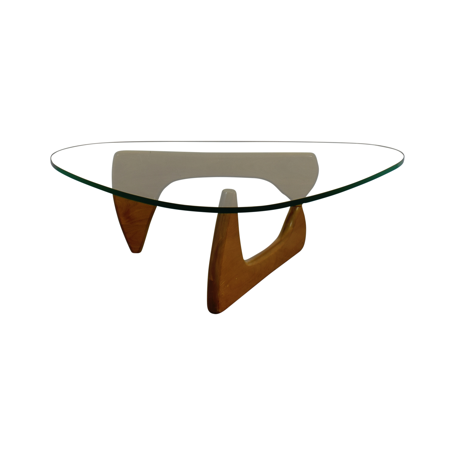 Noguchi Inspired Glass and Wood Table on sale