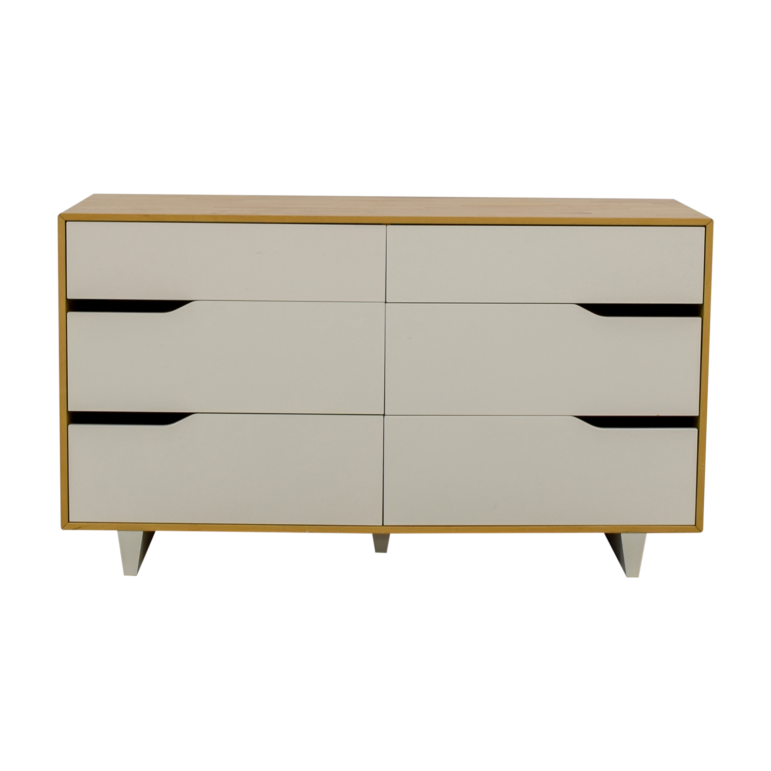 buy IKEA Mandal White and Natural Six-Drawer Dresser IKEA Storage